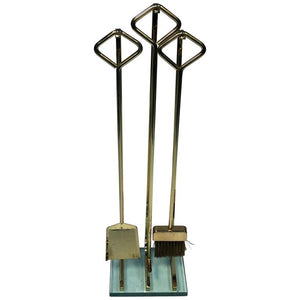 Great Fontana Arte Modernist Polished Goldtone Metal and Glass Firetools