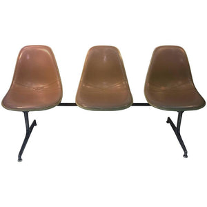 Great Herman Miller Triple Bucket Seat Tan Leather Lounge
