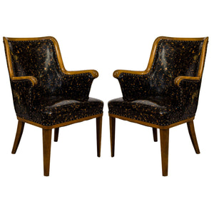 Great Hollywood Regency Pair of Armchairs in a Patent Tortoise Shell Upholstery