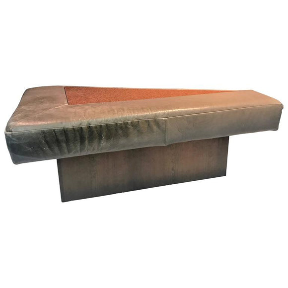 Great Modern Sculptural Triangular Leather, Granite and Walnut Bench