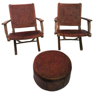 Great Pair of Hans Wegner Style Saddle Tooled Leather Folding Chairs and Ottoman