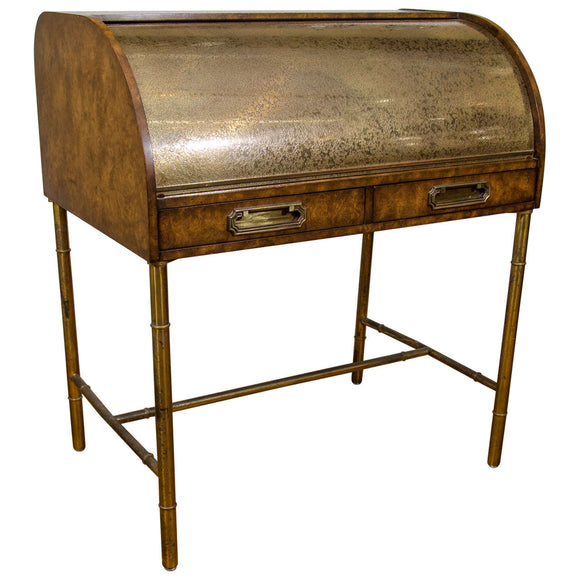 Hollywood Regency Design Mastercraft Roll Top Brass Bamboo Writing Desk