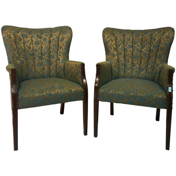 Hollywood Regency Pair of Dorothy Draper Style Fan Back Armchairs, circa 1940