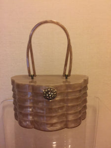 Glamorous Pearlized Taupe Layered Lucite Handbag with Jewel Clasp Signed Wilardy