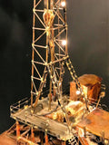 Amazing 1970's Brutalist Metal Oil Rig Illuminated Mechanical Sculpture