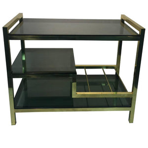 Incredible Italian Modernistic Brass Bar Cart with Smoke Glass Shelves