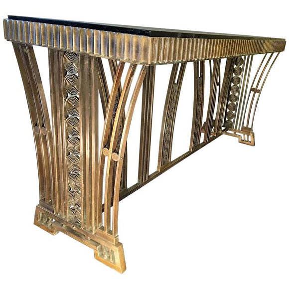 Incredible Modernist Bronze Art Deco Console Table Designed by Edgar Brandt