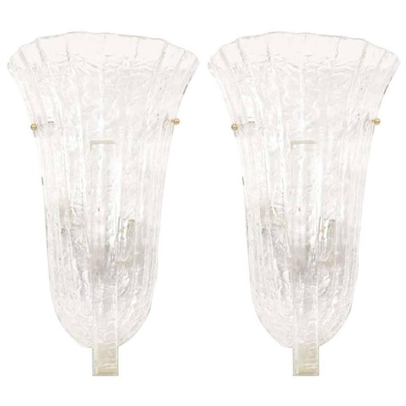 Incredible Pair of Venini Murano Ice Glass Italian Wall Sconces