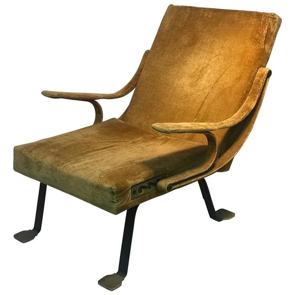 Interesting Italian Adjustable Lounge Chair in Original Velvet Upholstery
