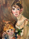 Large Signed Modern Painting of Baroque Woman and Child