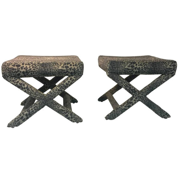 Lovely Pair of Leopard Print X-Base Stools or Benches