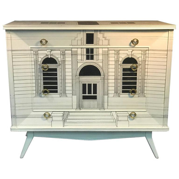 Magnificent Italian Building Design Dresser in the Manner of Piero Fornasetti