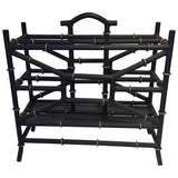 Maison Bagues Style Matte Black and Gold Bamboo Form Magazine Rack
