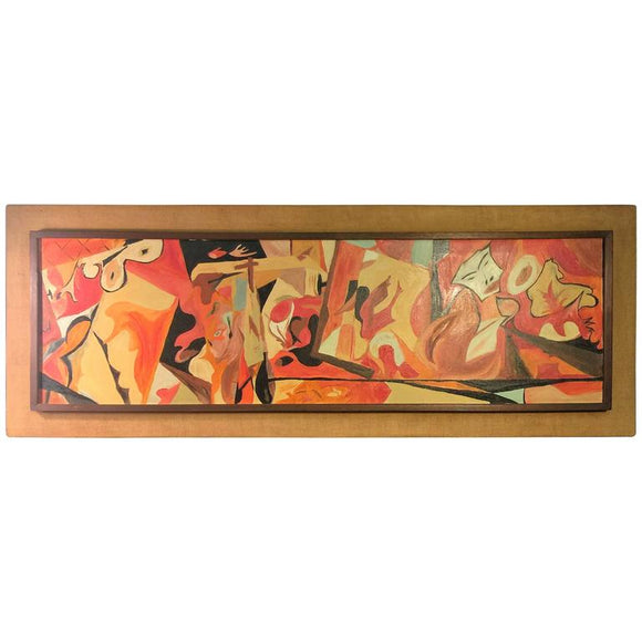 Mid-Century Large Scale Modern Bright Abstract Surrealist Painting