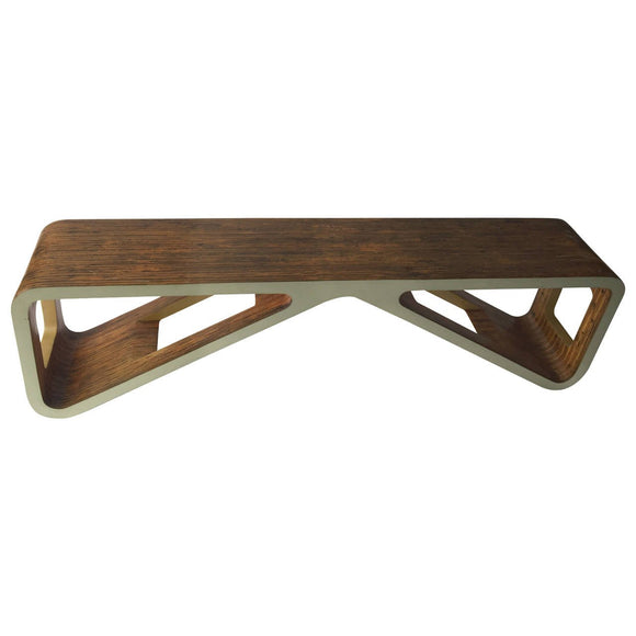 Mid-Century Modern Bentwood and Lacquered Bench