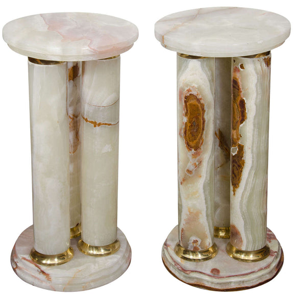 Mid-Century Pair of Onyx and Brass Pedestals