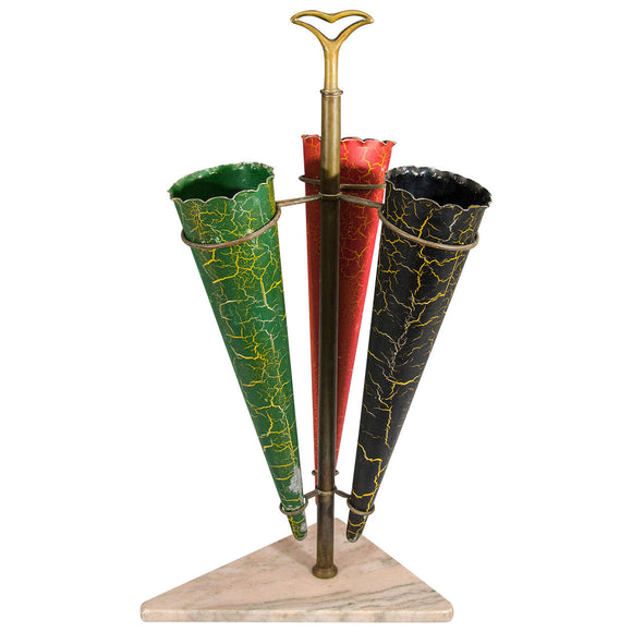 Mid-Century Umbrella Stand on Marble Base Attributed to Fontana Arte