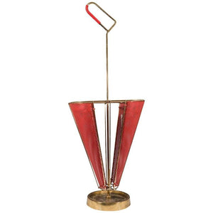 Midcentury Brass-Plated and Red Enameled Italian Umbrella Stand