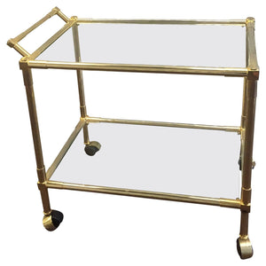 Midcentury Brass and Glass Bar Cart in the Manner of Karl Springer
