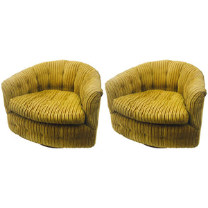 Midcentury Pair of Milo Baughman Swivel Barrel Back Tub Chairs