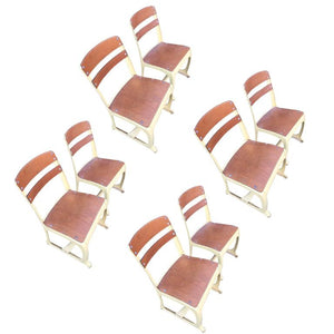 Midcentury Set of Eight Wooden Chairs in the Manner of Jean Prouve