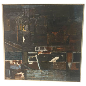 "Modern Abstract Painting Titled, ""Night"" and Dated 1960"