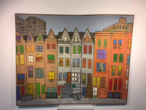 Modern Cityscape Painting of Homes and Buildings in the Manner of James Rizzi