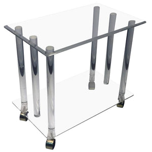 Modern Lucite Rod Bar Cart