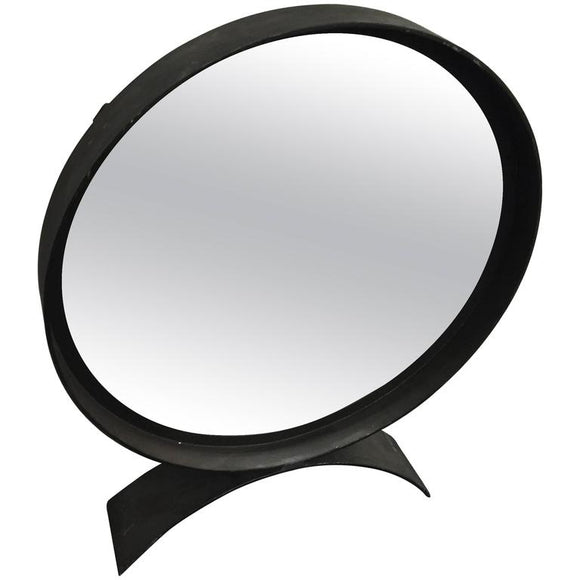 Modern Round Iron Table Mirror with Curved Base