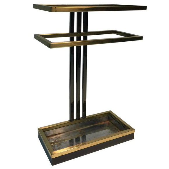 Modern Umbrella Stand in Chrome and Brass