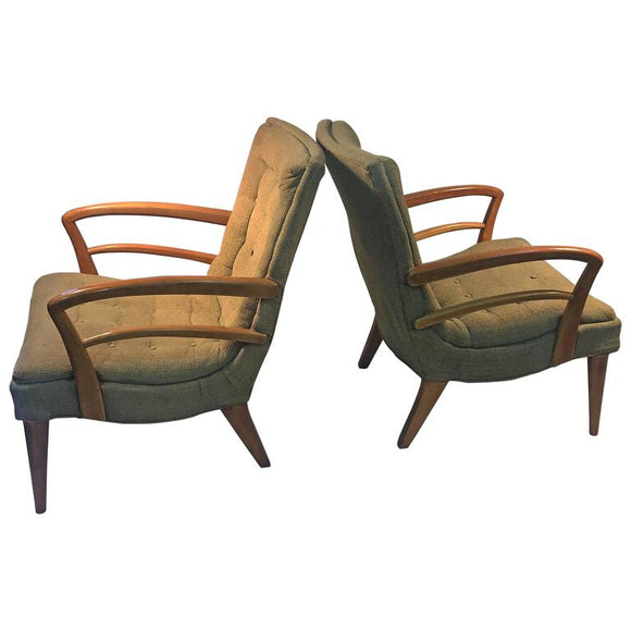 Modernist Art Deco Pair of KEM Weber Lounge Chairs