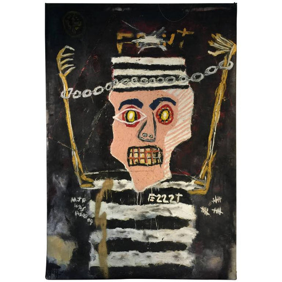 Modernistic Painting after Jean-Michel Basquiat, circa 1980
