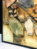 Monumental Assorted Natural Stone and Paint Mural on Wood Signed Lee