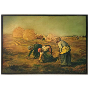 Monumental Signed Painting after Jean- Francois Millet 'The Gleaners'