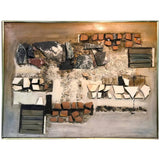 Monumental Stone, Wood, Terracotta Painted Mural on Wood Signed Lee