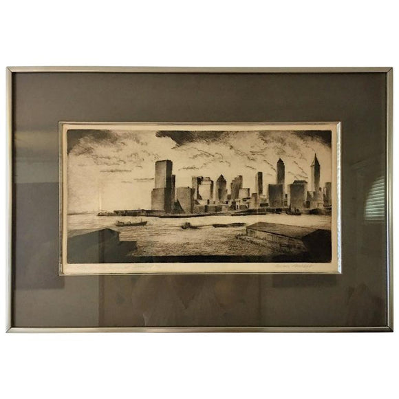 Moody Signed 1970s Manhattan Skyline Etching