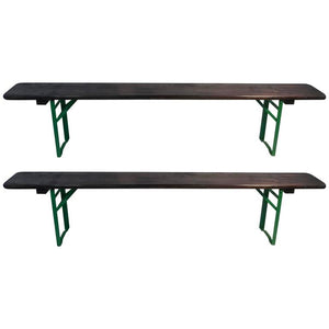 Outstanding Pair of Outdoor Beer Garden Benches from Munich Germany