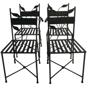 Outstanding Set of Outdoor Iron Garden Chairs in the Manner of Claude Lalanne