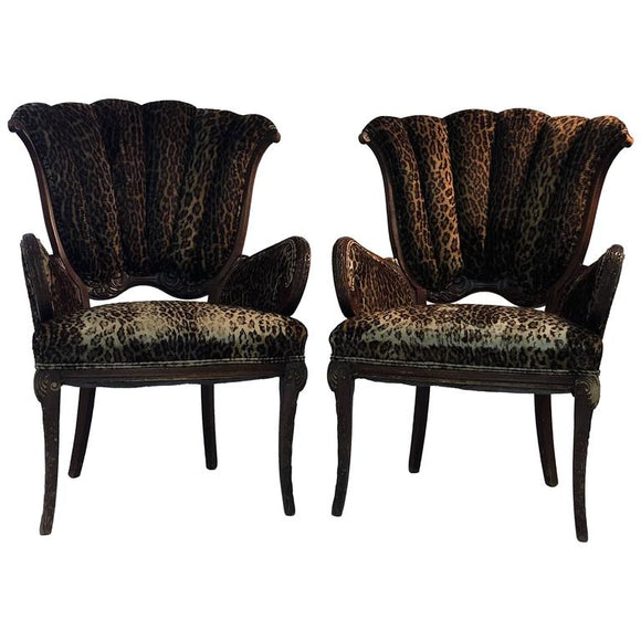Pair of 1940s Grosfeld House Leopard and Carved Wood Decorative Chairs