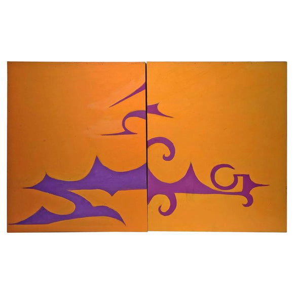 Pair of Abstract Design Orange and Purple Paintings