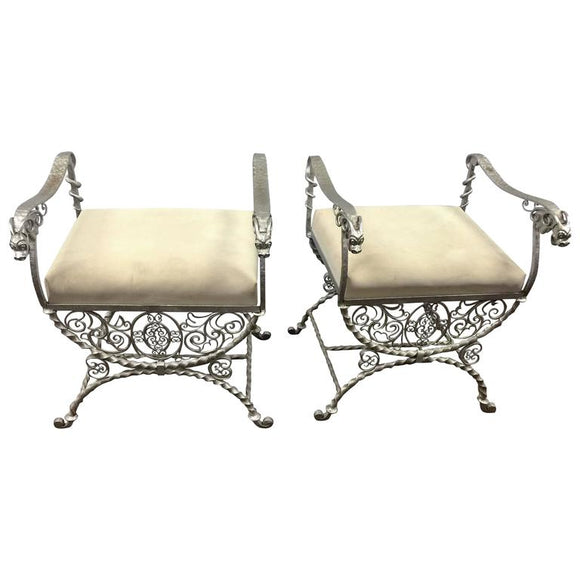 Pair of Elaborate Gargoyle Head Iron Benches in the Manner of Samuel Yellin