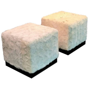 Pair of High End Bronzed Steel White Mink Ottomans in the Style of Karl Springer
