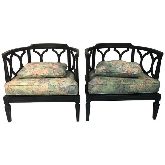 Pair of James Mont Style Asian Inspired Hollywood Regency Chairs