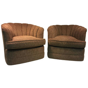 Pair of Luscious Fan Back Swivel Chairs by Milo Baughman