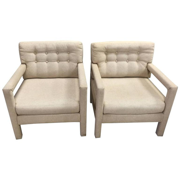 Pair of Milo Baughman Button Tufted Lounge Chair or Armchairs