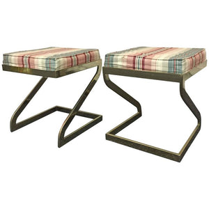 Pair of Milo Baughman Stools or Benches with Polished Brass Bases