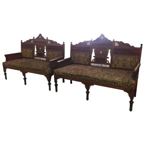 Pair of Outstanding 19th Century Moorish Settee in the Manner of Bugatti