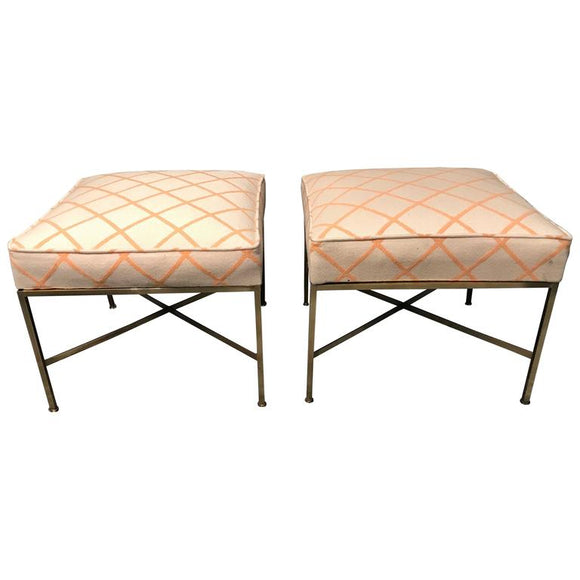 Pair of Paul McCobb Modernist X-Base Brass Stools