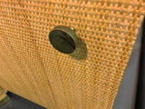Pair of Rattan & Wicker Brass Accented Etageres in the Style of Gabriella Crespi