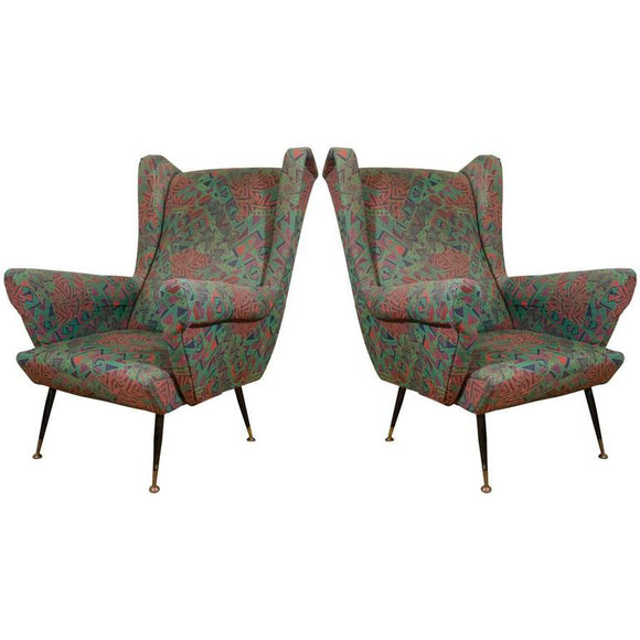 Pair of Wonderful Wingback Italian Armchairs or Lounge Chairs, circa 1950
